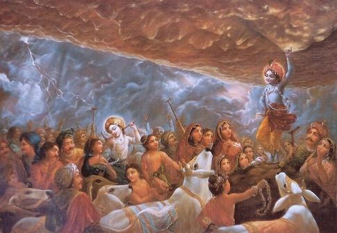 Krishna lifts Govardhan Parvat