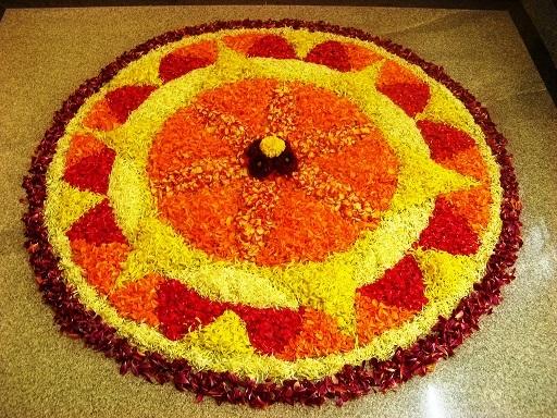 Pookalam, a Rangoli made using flowers on Onam
