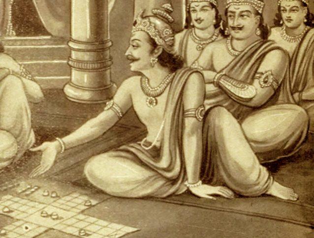 Shakuni and Duryodhana playing Dice Game with Pandavas