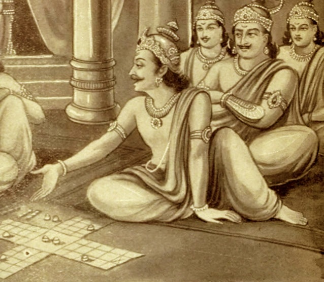 Shakuni and Duryodhana playing Dice Game with Pandavas