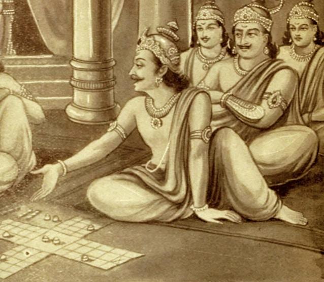 पांडवों के साथ शकुनि और दुर्योधन पासा खेल रहे हैं