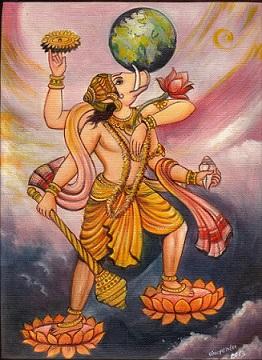 Vishnu as Varaha Avatara rescuing Earth from sea | Hindu FAQs