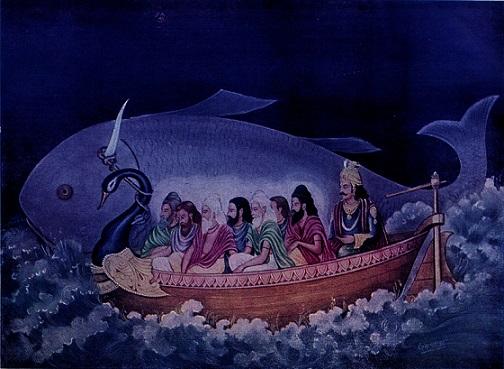Matsya avatar saving Manu and the seven sages in Maha Pralay | Hindu FAQs