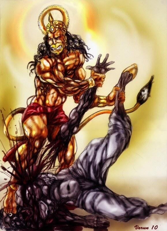 Bajrangbali Hanuman slaying Ahiravana
