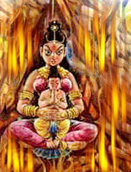 Holika with Pralhad in bondife