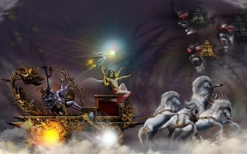 Shiva as Tripurantaka