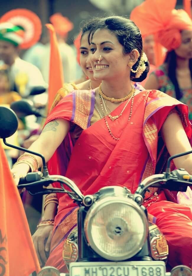 One of the women biker in rally for Gudi Padva in Maharashtra