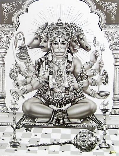 Sitting panchamukhi hanuman
