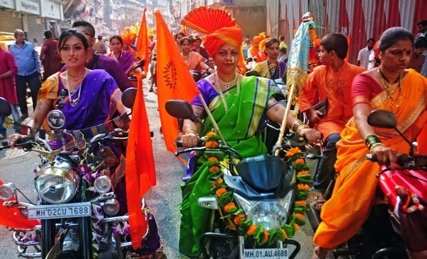 Women bikers in rally dressed up traditional costume rally for Gudi Padva in Maharashtra