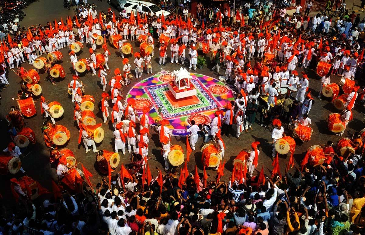 A Dhol pathak performing their play on Gudi Padva in Maharashtra