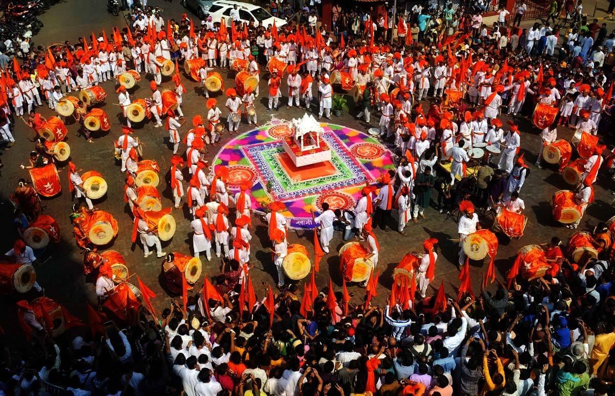 A Dhol pathak performing their play on Gudi Padva in Maharashtra