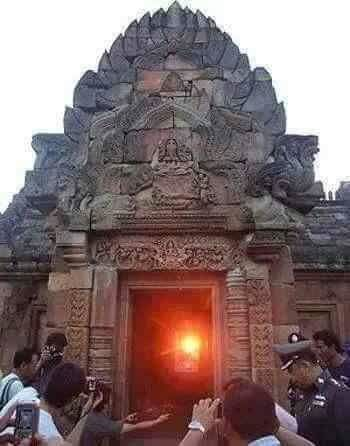 Sun entering Angkor Wat temple in Cambodia