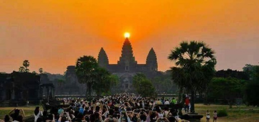 Sun entering the Angkor Wat in Cambodia