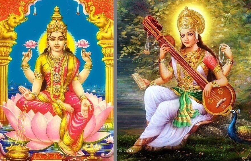 Saraswati and Lakshmi shows material reality which is Prakriti